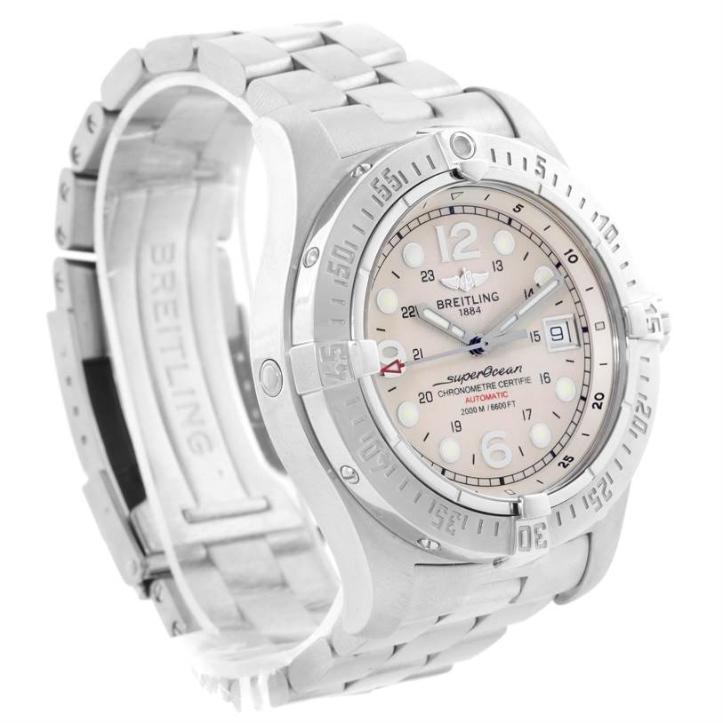 11402 Breitling Aeromarine Superocean Steelfish Cream Dial Mens Watch A17390 SwissWatchExpo