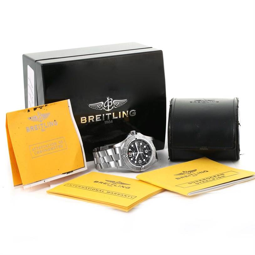 11770 Breitling Aeromarine Superocean Steelfish Watch A17390 Box Papers SwissWatchExpo