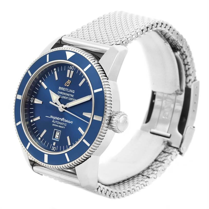 12492 Breitling Superocean Heritage 46 Blue Dial Mesh Bracelet Watch A17320 SwissWatchExpo