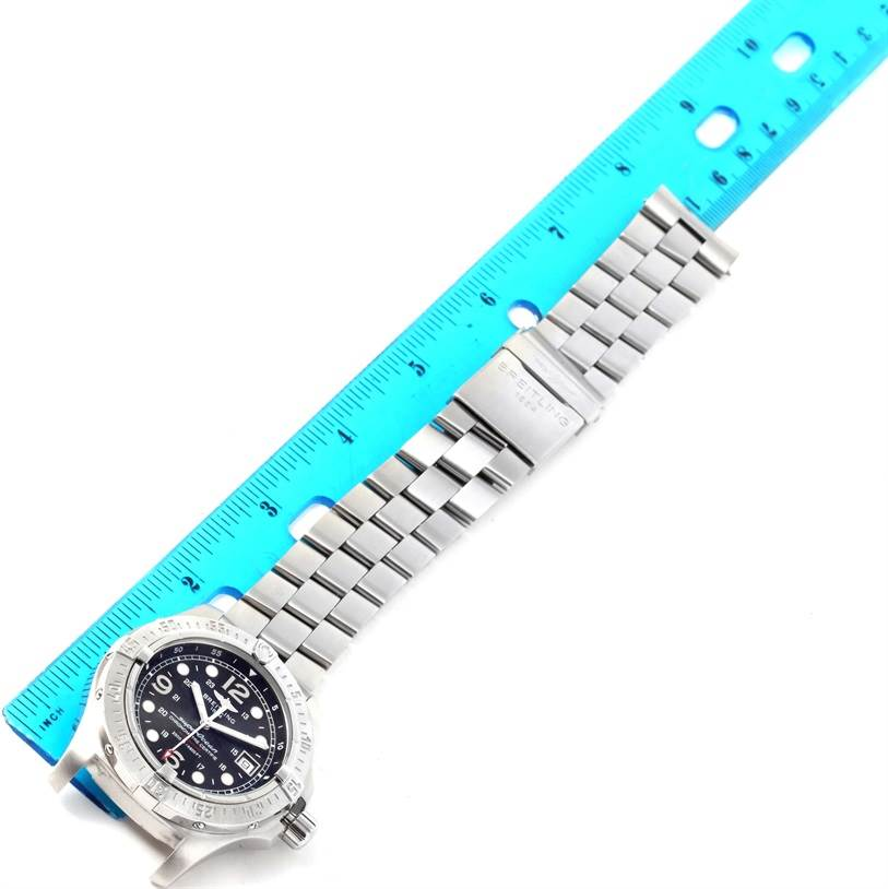 12720 Breitling Aeromarine Superocean Steelfish Black Dial Watch A17390 SwissWatchExpo