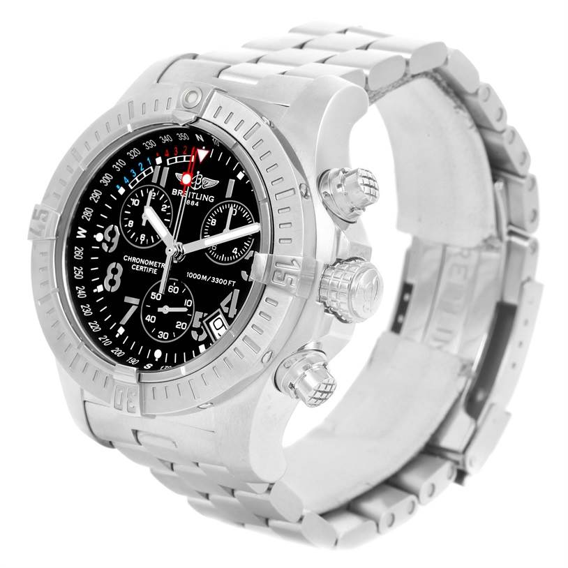 12990 Breitling Avenger Seawolf Black Dial Mens Watch A73390 Box Papers SwissWatchExpo