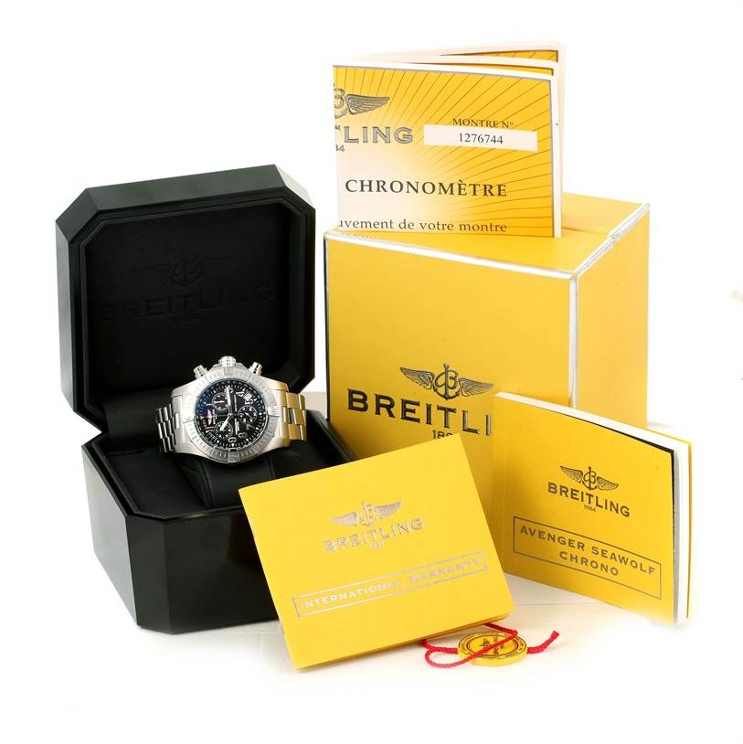 Breitling Avenger Seawolf Black Dial Mens Watch A73390 Box Papers SwissWatchExpo