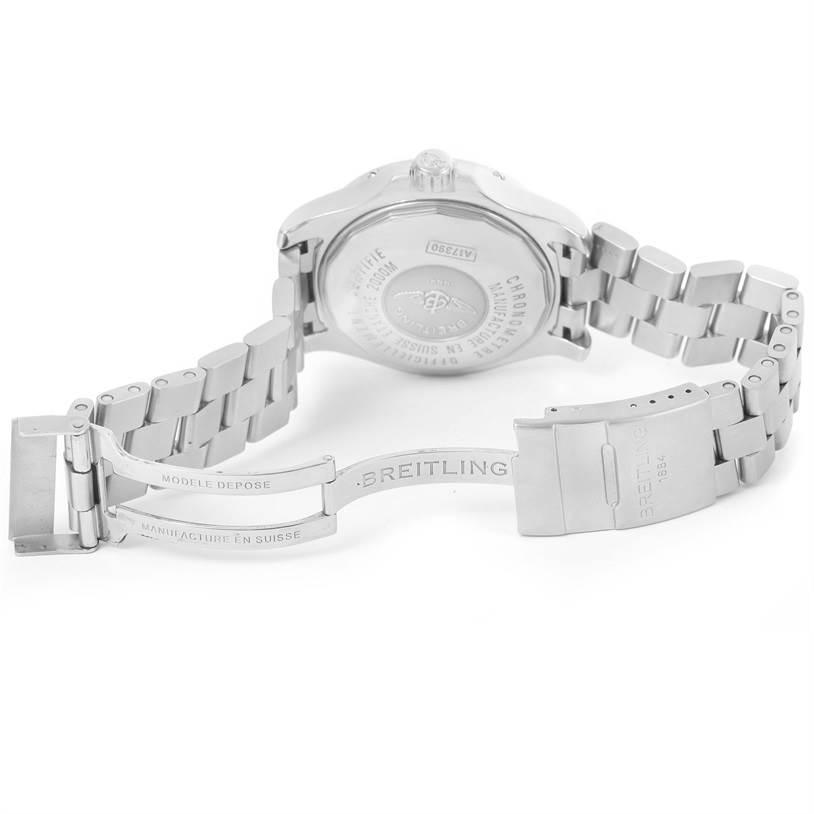 12880 Breitling Aeromarine Superocean Steelfish Black Dial Watch A17390 SwissWatchExpo