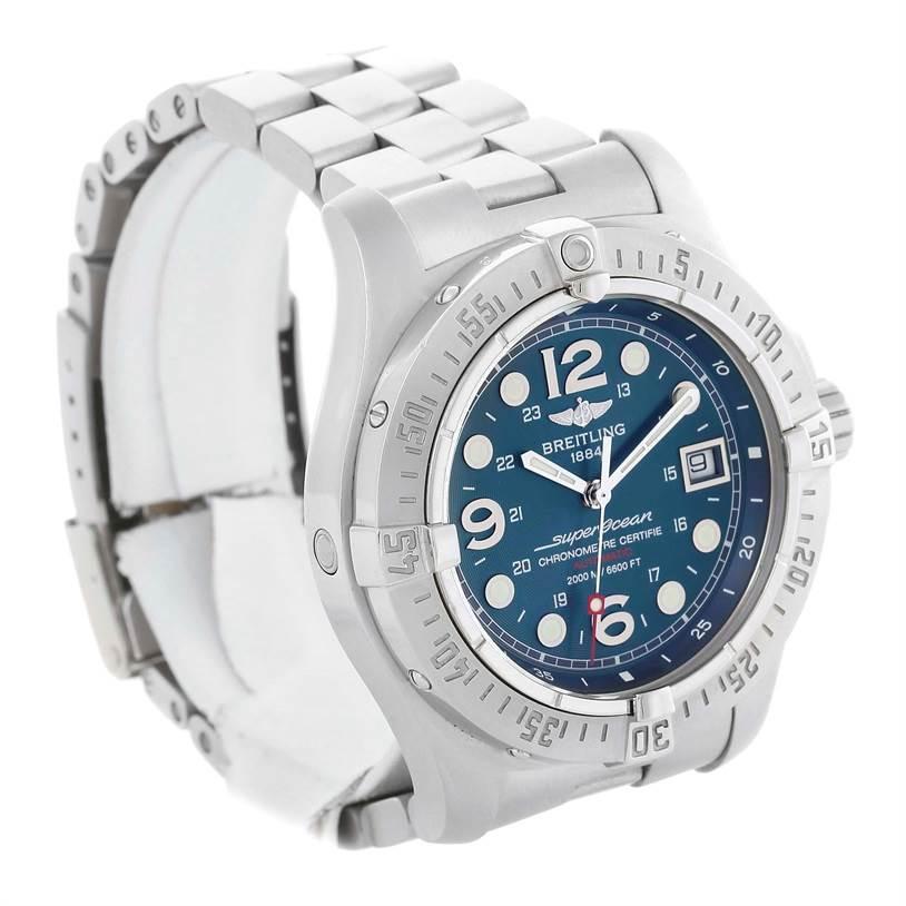 13263 Breitling Aeromarine Superocean Steelfish Blue Dial Watch A17390 SwissWatchExpo