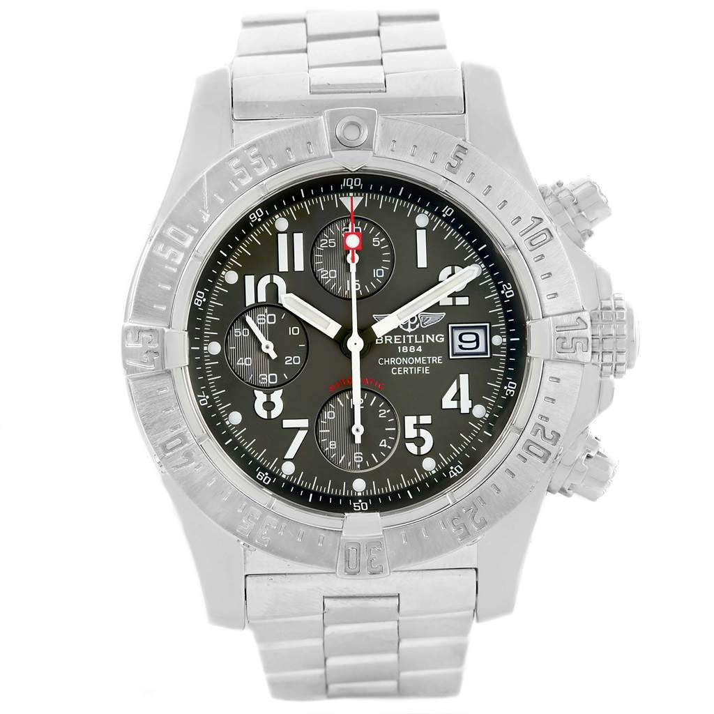 13375 Breitling Aeromarine Avenger Skyland Grey Dial Mens Watch A13380 SwissWatchExpo