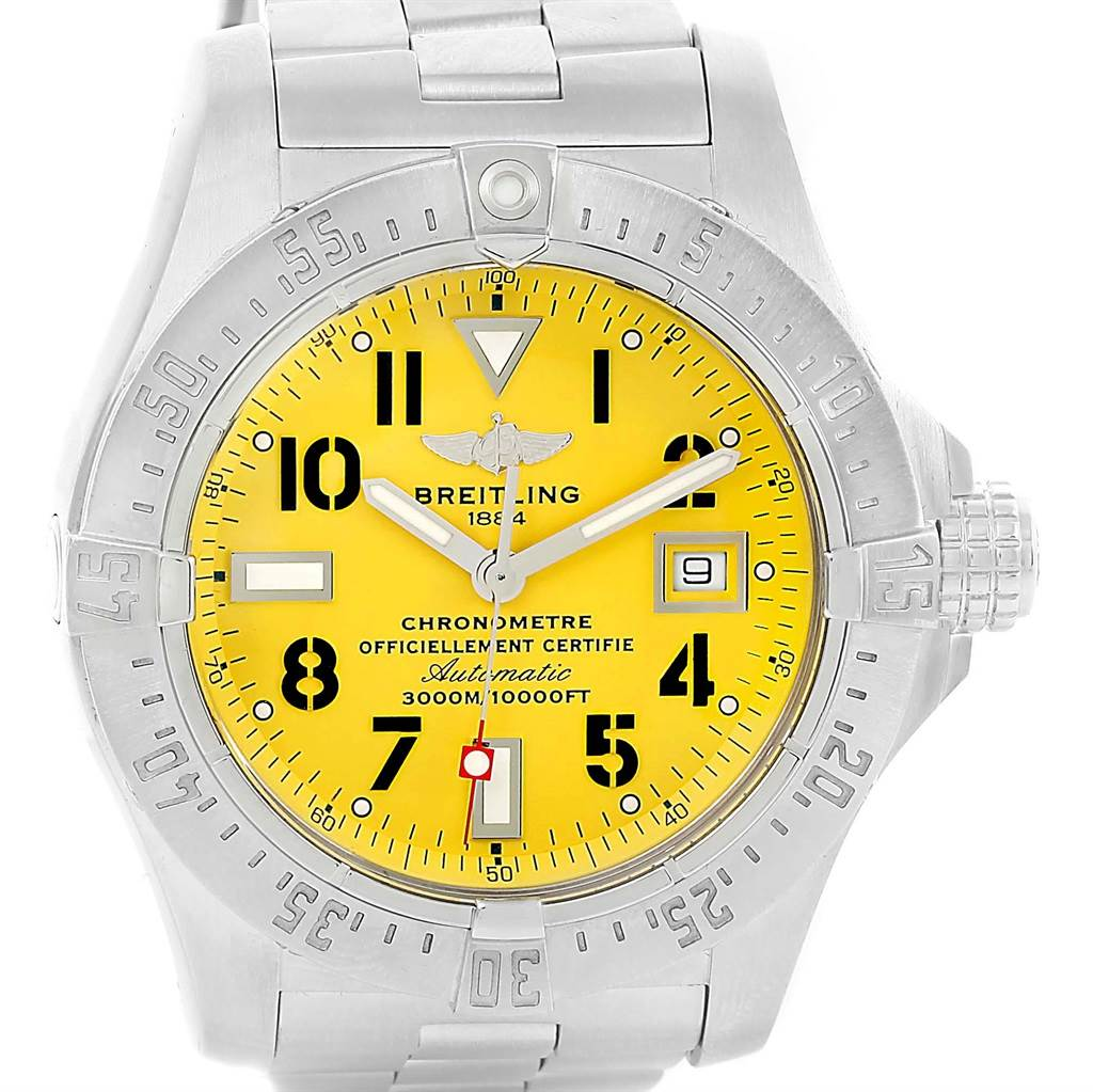 image breitling of watches titanium model emergency pro with from yellow i made dial