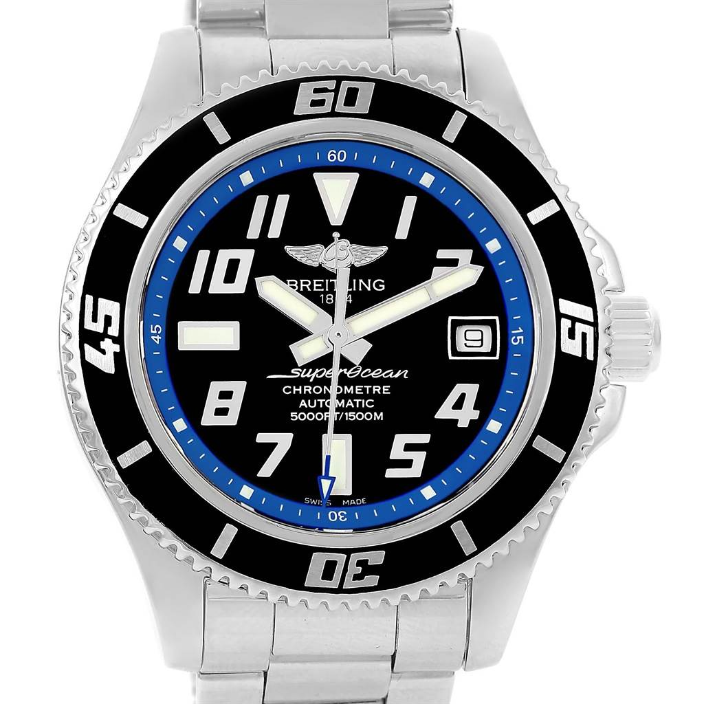 13414 Breitling Superocean 42 Abyss Black Blue Dial Steel Mens Watch A17364 SwissWatchExpo