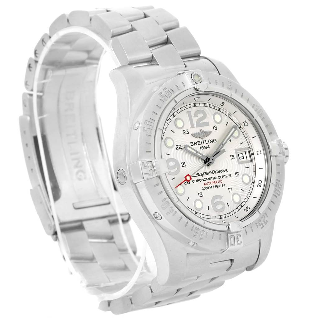 13416 Breitling Aeromarine Superocean Steelfish Silver Dial Watch A17390 SwissWatchExpo
