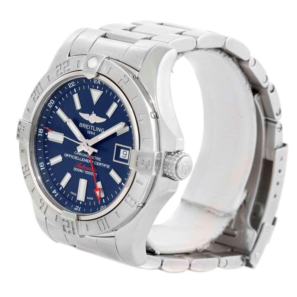 Breitling Aeromarine Avenger II GMT Blue Dial Steel Mens Watch A32390 SwissWatchExpo