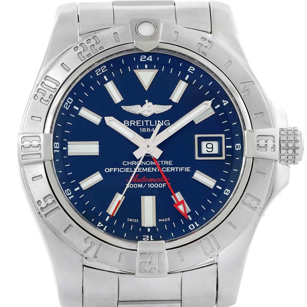 14159 Breitling Aeromarine Avenger II GMT Blue Dial Steel Mens Watch A32390 SwissWatchExpo