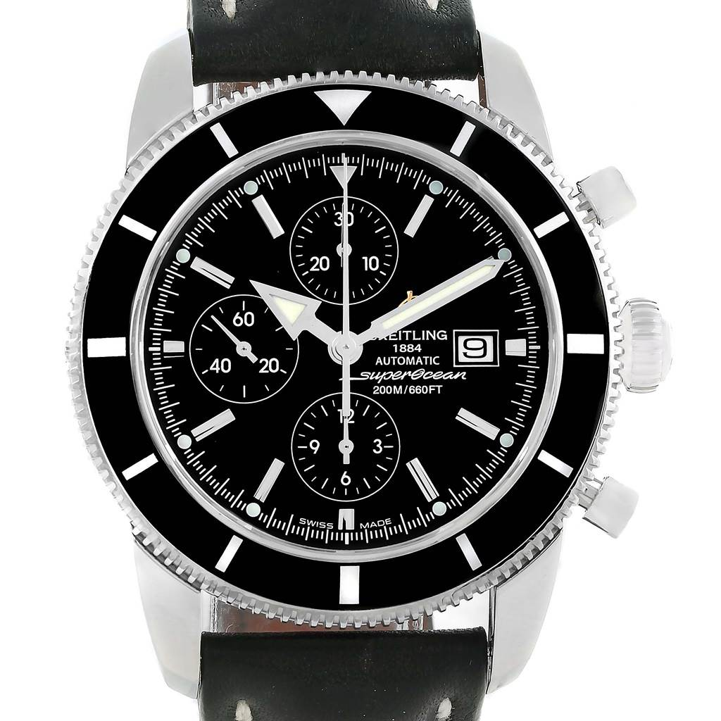 12470 Breitling SuperOcean Heritage Chrono 46 Black Leather Strap Watch A13320 SwissWatchExpo