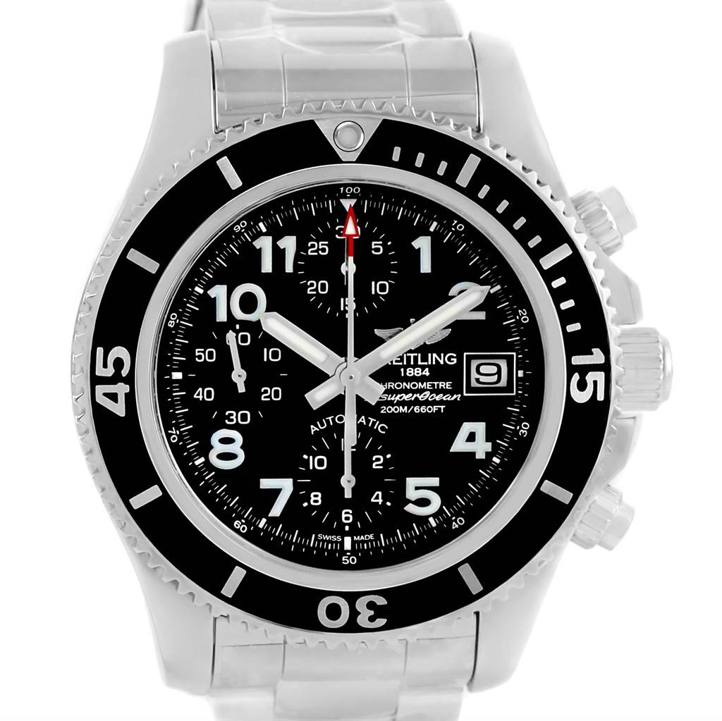 14107 Breitling Superocean Chronograph 42 Steel Mens Watch A13311 Unworn SwissWatchExpo