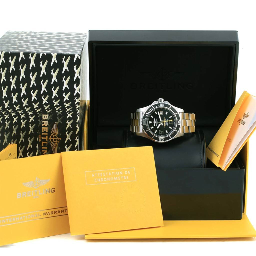 14267 Breitling Aeromarine Superocean 44 Steel Mens Watch A17391 Box Papers SwissWatchExpo