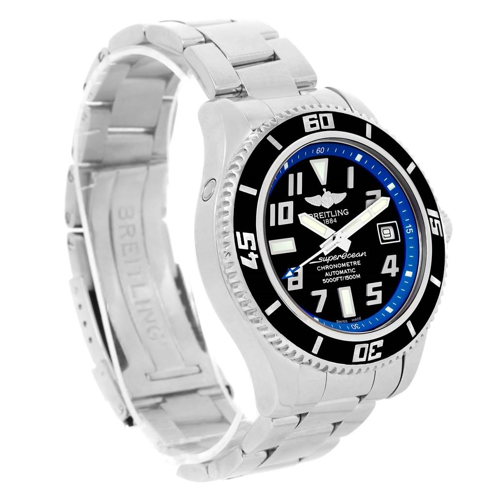 14274 Breitling Superocean 42 Abyss Black Blue Dial Steel Mens Watch A17364 SwissWatchExpo