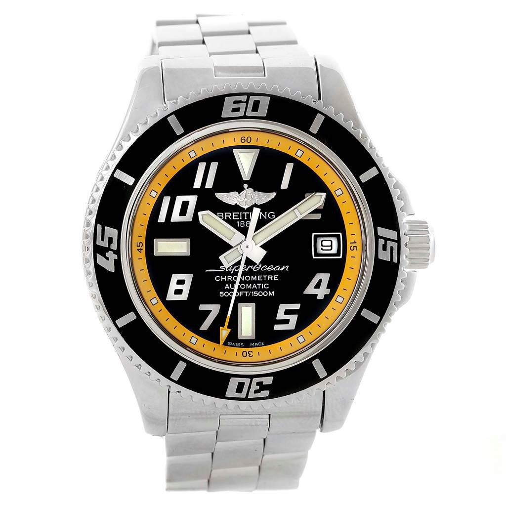 Breitling Superocean 42 Abyss Black Yellow Dial Mens Watch A17364 SwissWatchExpo