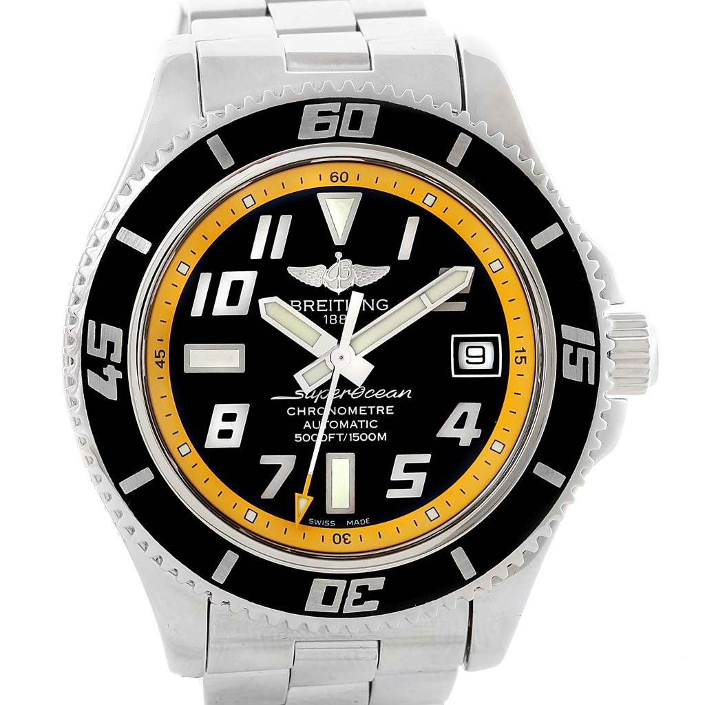 14275 Breitling Superocean 42 Abyss Black Yellow Dial Mens Watch A17364 SwissWatchExpo