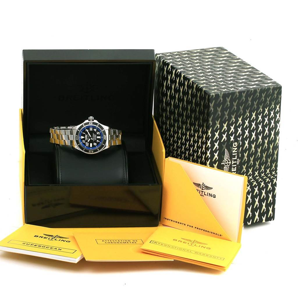 14265 Breitling Superocean 42 Abyss Black Blue Dial Watch A17364 Box Papers SwissWatchExpo