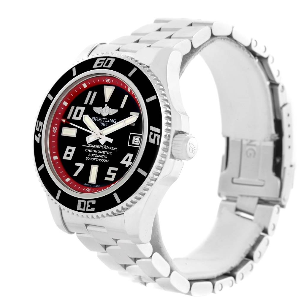14266 Breitling Superocean 42 Abyss Black Red Dial Watch A17364 Box Papers SwissWatchExpo