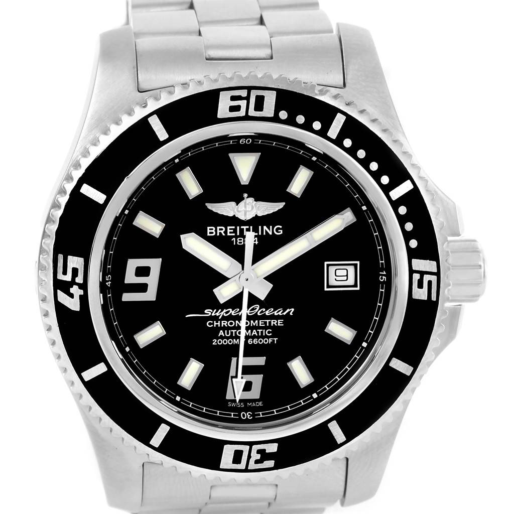 14309 Breitling Aeromarine Superocean 44 Steel Mens Watch A17391 Year 2014 SwissWatchExpo