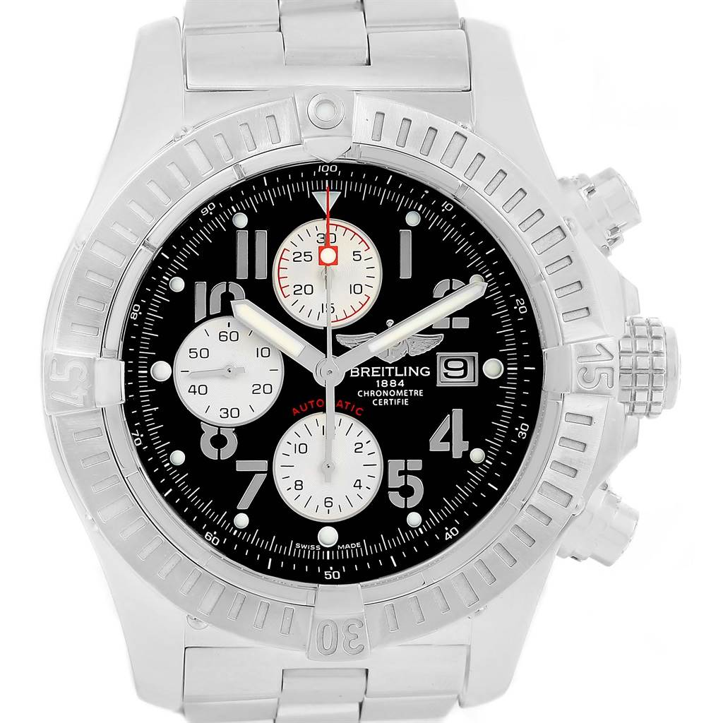 14299 Breitling Aeromarine Super Avenger Black Dial Mens Watch A13370 SwissWatchExpo