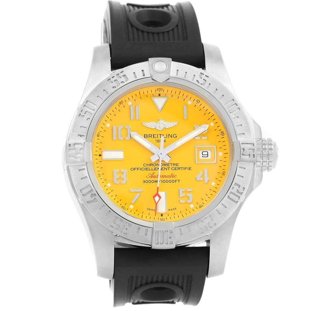 Breitling Aeromarine Avenger II Seawolf Yellow Dial Mens Watch A17331 SwissWatchExpo