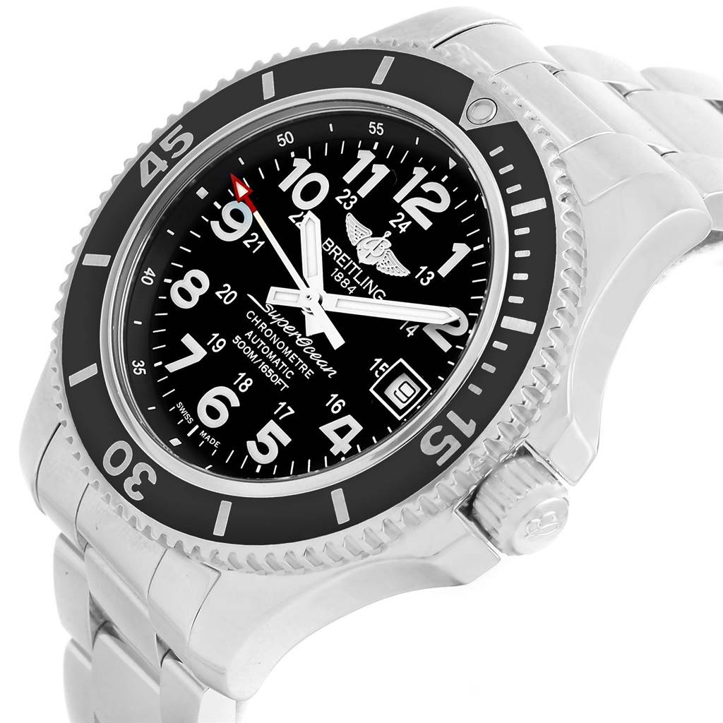 14307 Breitling Superocean II Black Dial Steel Mens Watch A17365 Box Papers SwissWatchExpo