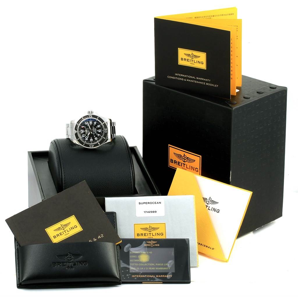 Breitling Superocean II Black Dial Steel Mens Watch A17365 Box Papers SwissWatchExpo