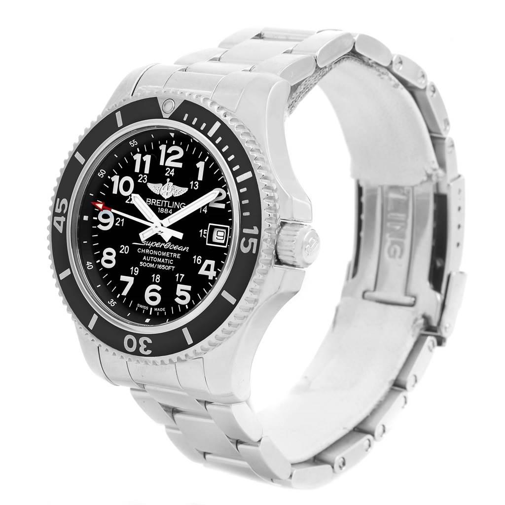 14307 Breitling Superocean II Black Dial Steel Mens Watch A17365 Box Papers SwissWatchExpo