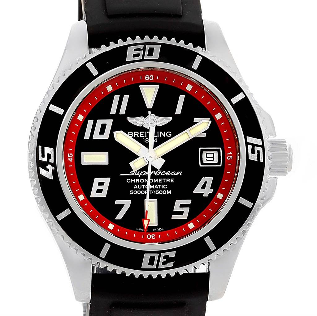 14670 Breitling Superocean 42 Abyss Black Red Dial Rubber Strap Watch A17364 SwissWatchExpo