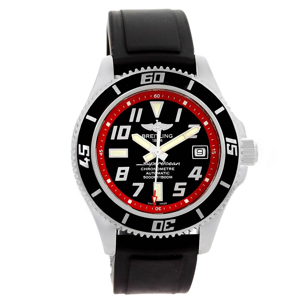 Breitling Superocean 42 Abyss Black Red Dial Rubber Strap Watch A17364 SwissWatchExpo