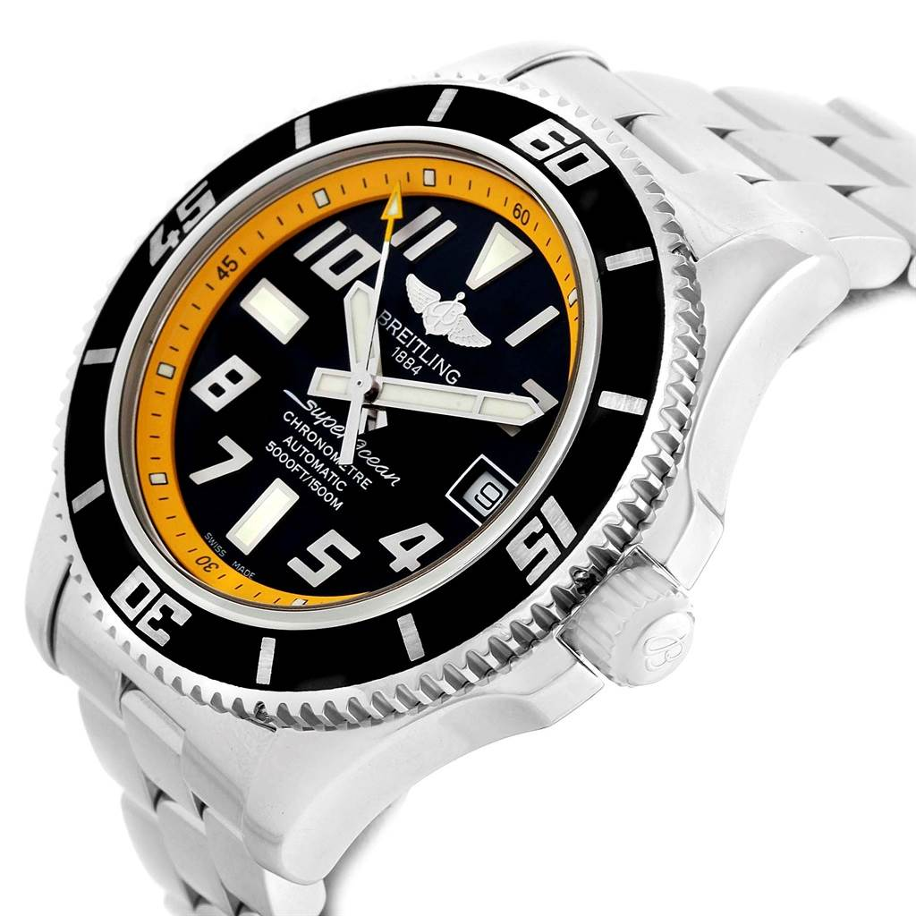 14708 Breitling Superocean 42 Abyss Black Yellow Dial Automatic Watch A17364 SwissWatchExpo
