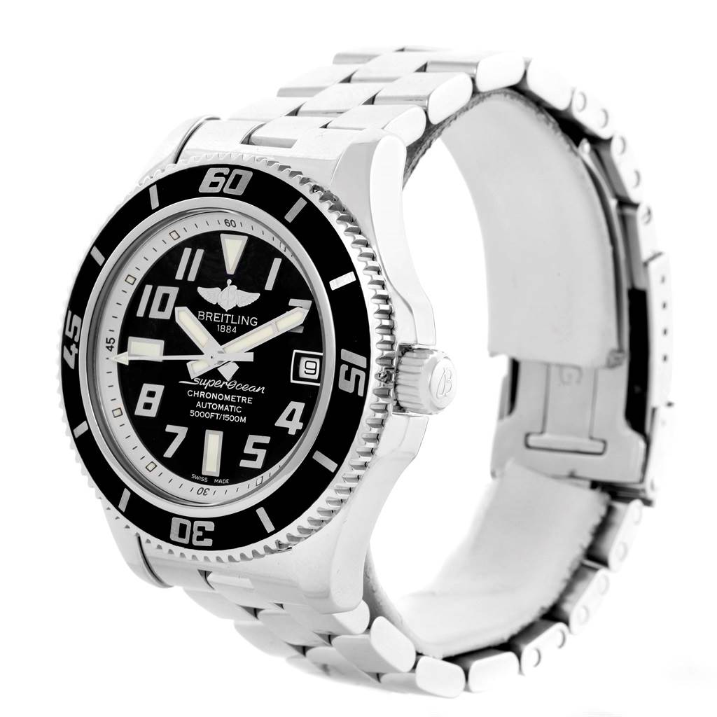 14672 Breitling Superocean 42 Abyss Black Dial Mens Watch A17364 Box Papers SwissWatchExpo