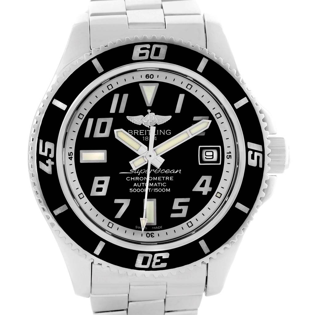 Breitling Superocean 42 Abyss Black Dial Mens Watch A17364 Box Papers SwissWatchExpo