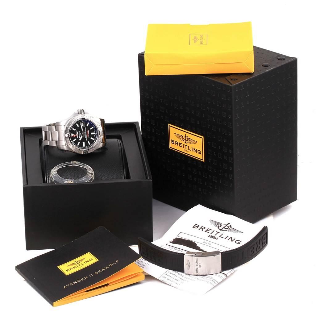 14769 Breitling Aeromarine Avenger II Seawolf Black Dial Mens Watch A17331 SwissWatchExpo