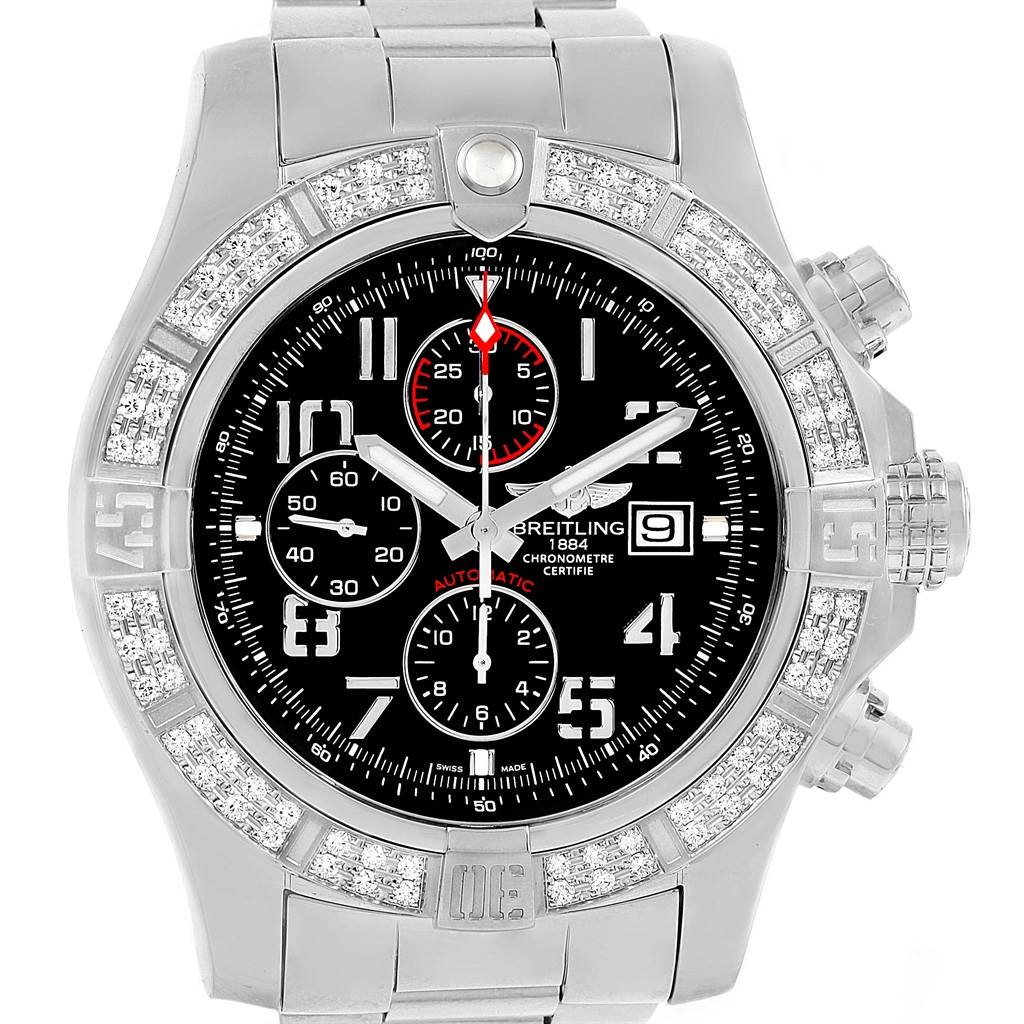 Breitling Aeromarine Super Avenger Diamond Mens Watch A13370 SwissWatchExpo