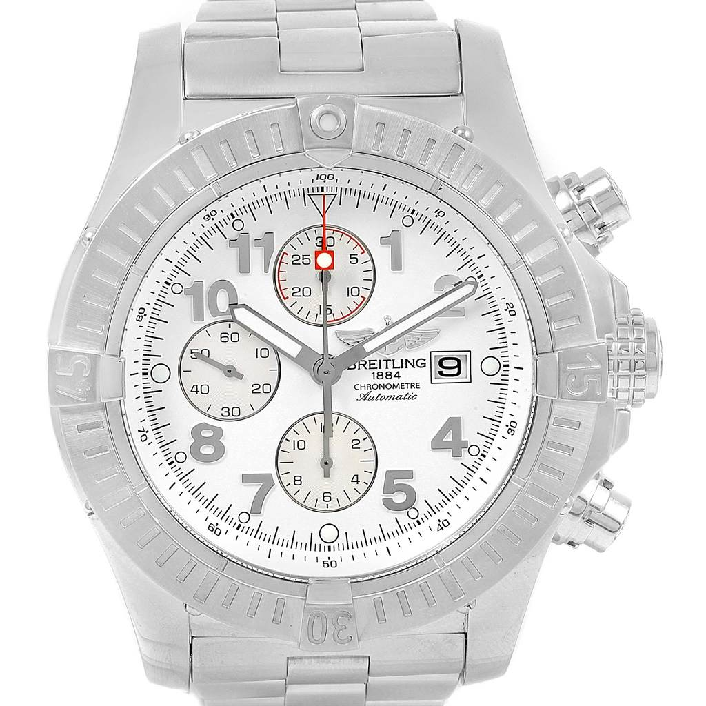 14783 Breitling Aeromarine Super Avenger White Dial Watch A13370 Box Papers SwissWatchExpo