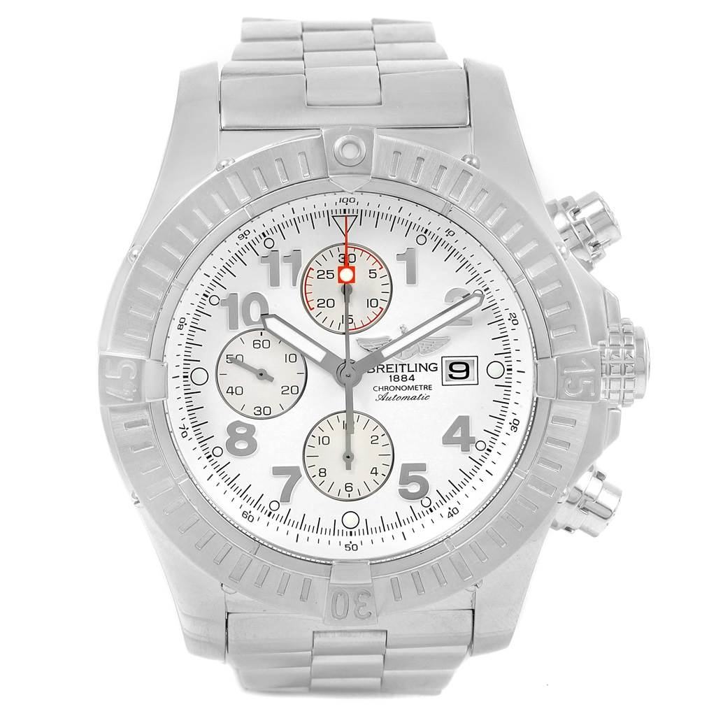 Breitling Aeromarine Super Avenger White Dial Watch A13370 Box Papers SwissWatchExpo