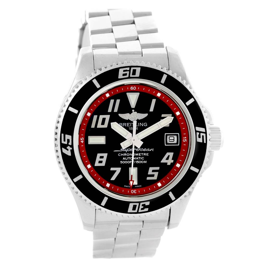 14830 Breitling Superocean 42 Abyss Black Red Dial Steel Mens Watch A17364 SwissWatchExpo