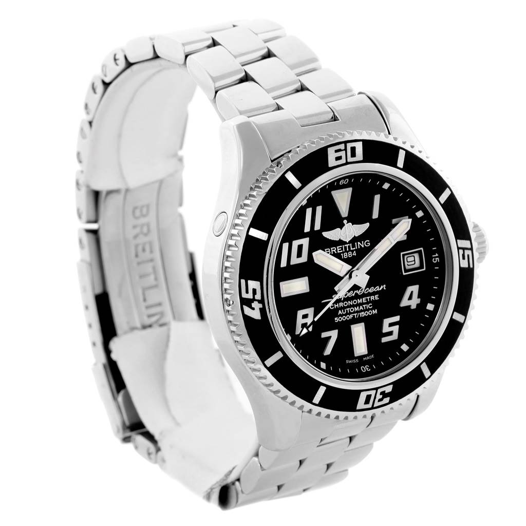 14733 Breitling Superocean 42 Abyss Black Dial Automatic Mens Watch A17364 SwissWatchExpo