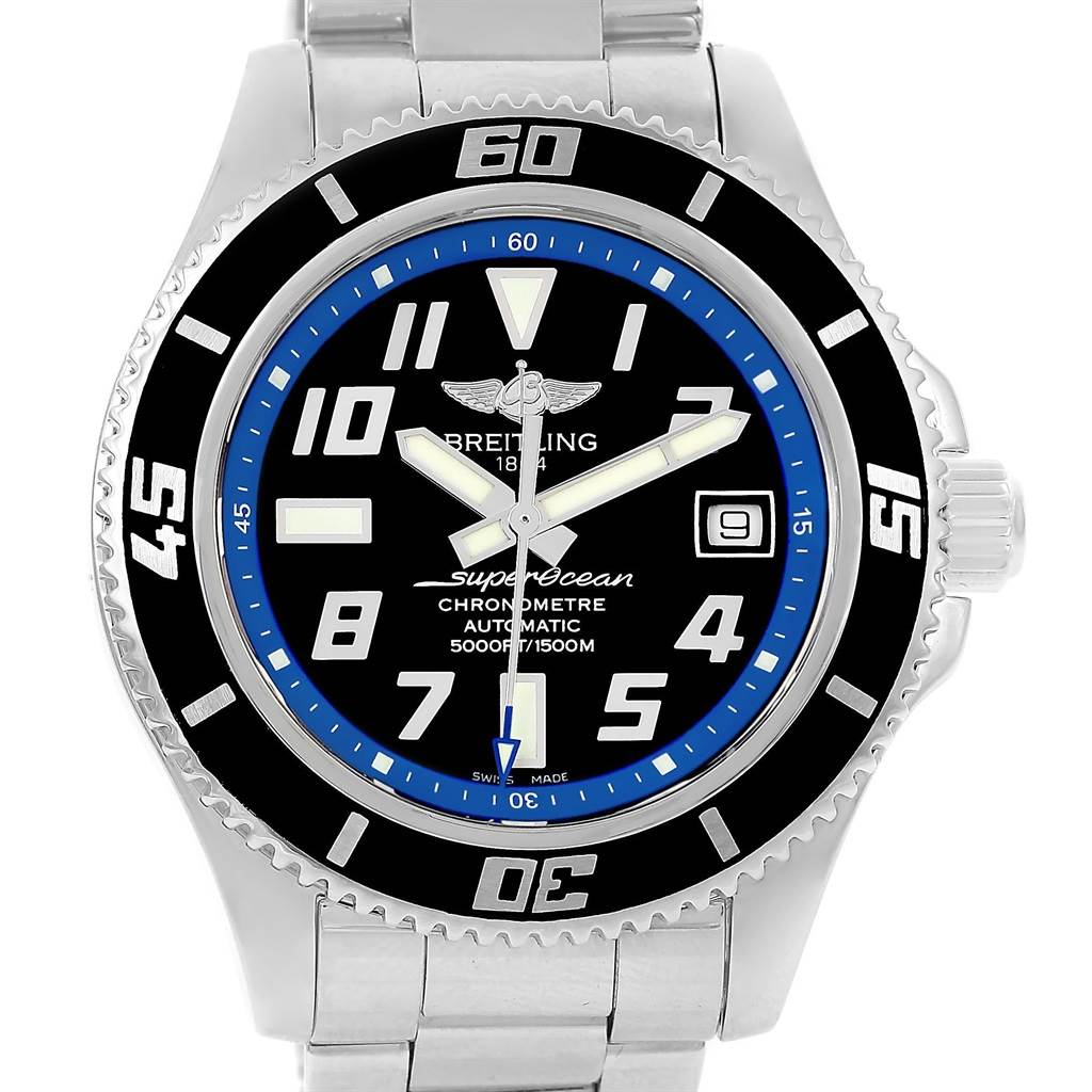 14864 Breitling Superocean 42 Abyss Black Blue Dial Steel Mens Watch A17364 SwissWatchExpo