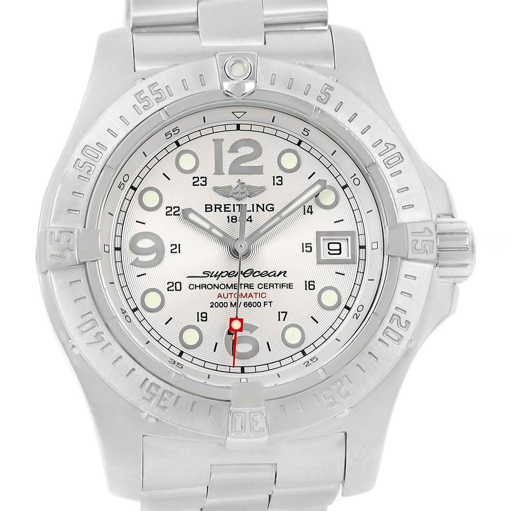14881 Breitling Aeromarine Superocean Steelfish Silver Dial Watch A17390 SwissWatchExpo