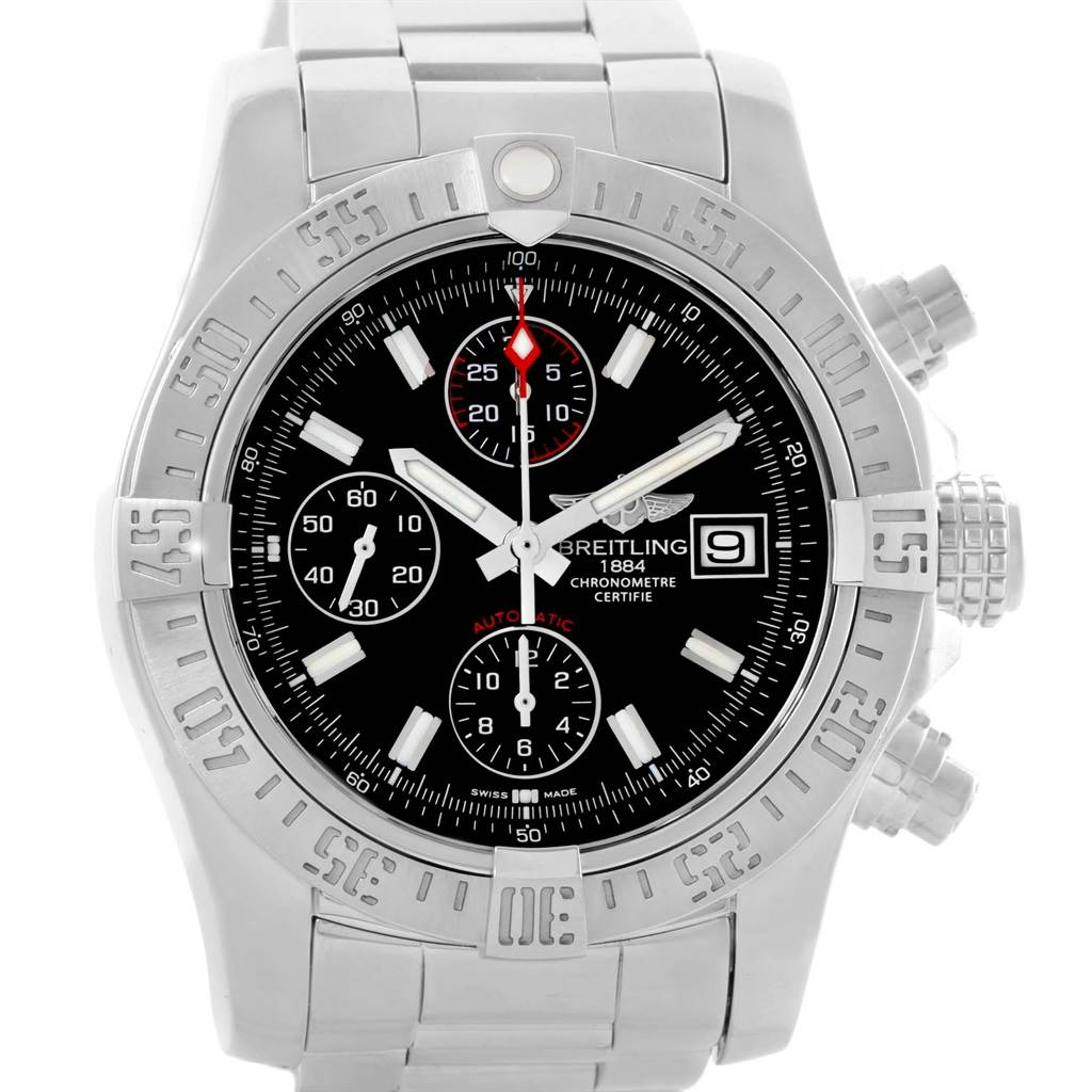 14901 Breitling Aeromarine Avenger II Black Dial Mens Watch A13381 SwissWatchExpo