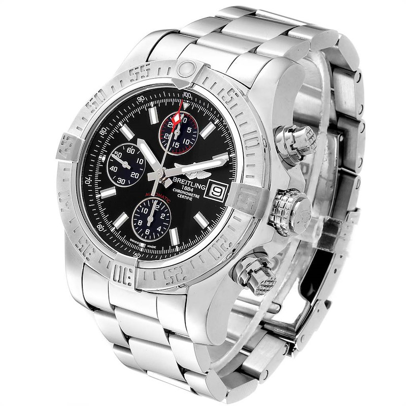 Breitling Avenger II Chronograph Black Baton Dial Mens Watch A13381 SwissWatchExpo