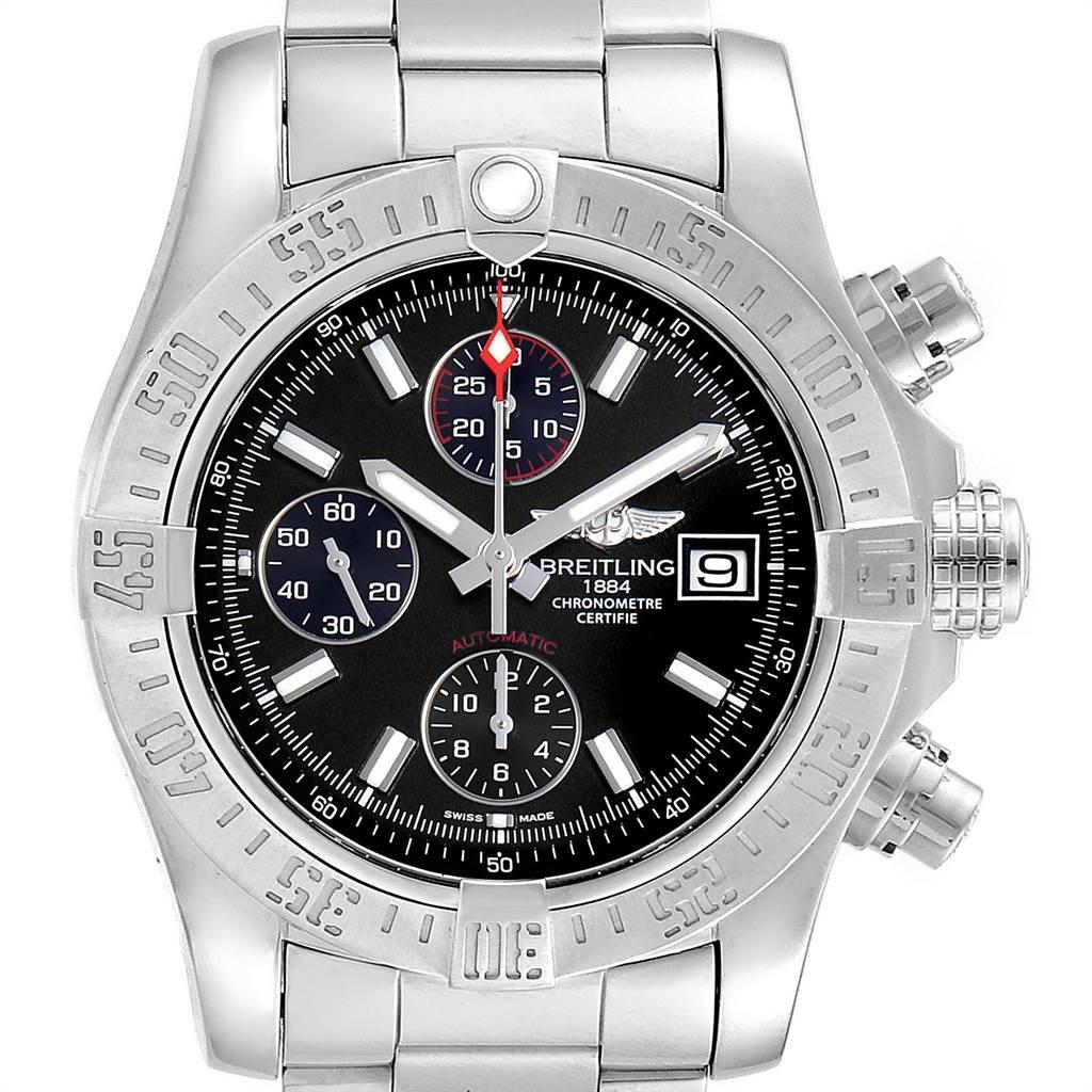 Breitling Avenger II Chronograph Black Baton Dial Mens Watch A13381