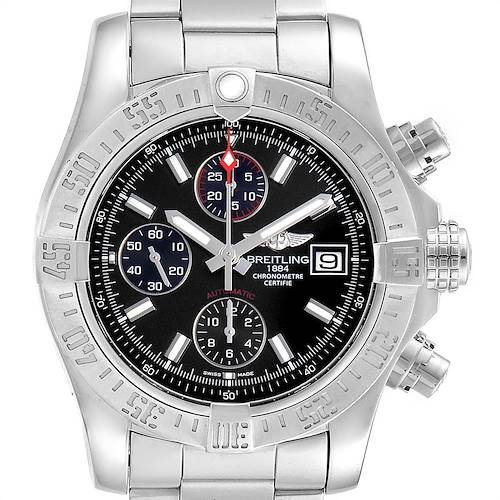 Photo of Breitling Avenger II Chronograph Black Baton Dial Mens Watch A13381