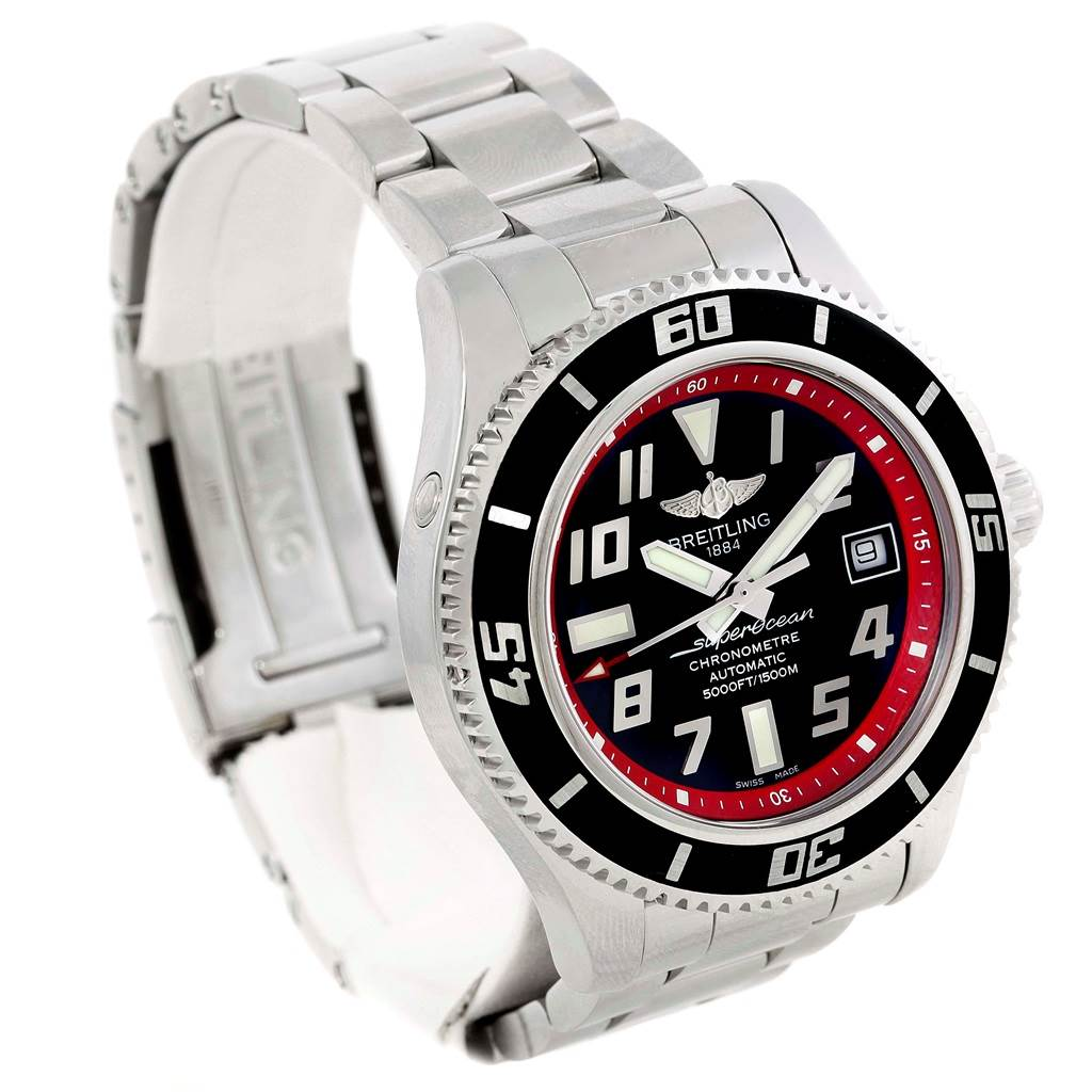 14900 Breitling Superocean 42 Abyss Black Red Automatic Mens Watch A17364 SwissWatchExpo
