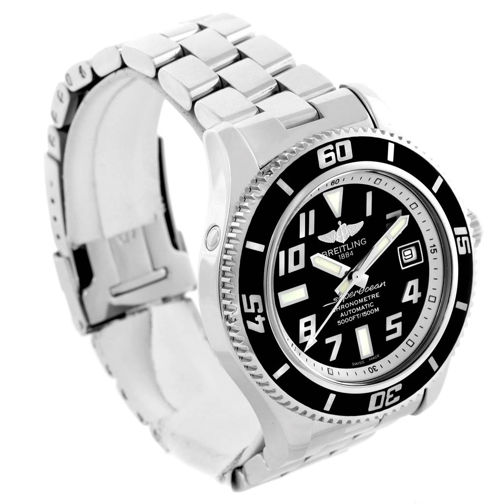 14639 Breitling Superocean 42 Abyss Black Dial Stainless Steel Watch A17364      SwissWatchExpo