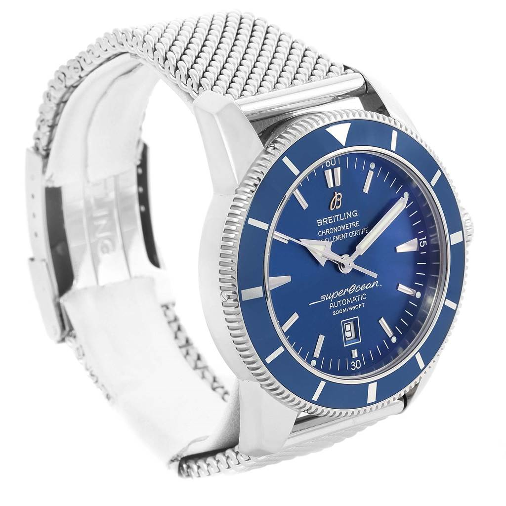 15013 Breitling Superocean Heritage 46 Blue Dial Mesh Bracelet Watch A17320 SwissWatchExpo