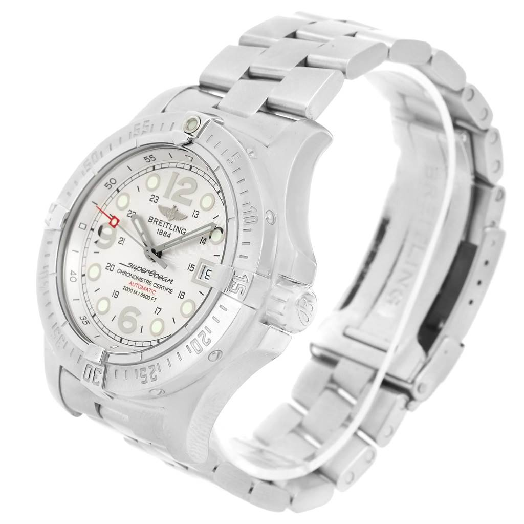 15016 Breitling Aeromarine Superocean Steelfish Silver Dial Watch A17390 SwissWatchExpo