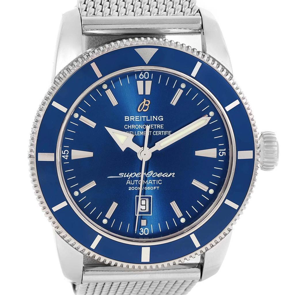 15247 Breitling Superocean Heritage 46 Mesh Bracelet Watch A17320 Box Papers SwissWatchExpo